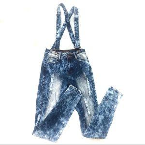 Vintage Acid wash distressed denim overalls skinny